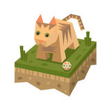 Isometric επίπεδη γάτα στο κεραμίδι του εδάφους Στοκ φωτογραφίες με δικαίωμα ελεύθερης χρήσης