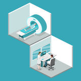 Isometric επίπεδη τρισδιάστατη έννοιας απεικόνιση Ιστού mri νοσοκομείων ιατρική Στοκ φωτογραφίες με δικαίωμα ελεύθερης χρήσης