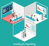 Isometric επίπεδη τρισδιάστατη έννοια της διάσκεψης ιατρική Στοκ Εικόνες