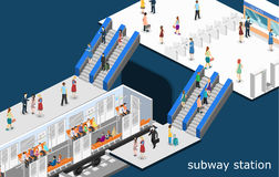 Isometric επίπεδη τρισδιάστατη μεταφορά υπόγειων τρένων μετρό έννοιας μπλε απόχρωση υπογείων σταθμών υπόγεια διανυσματική απεικόνιση
