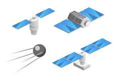 Isometric επίπεδος τρισδιάστατος απομονωμένος διαστημικός δορυφόρος ΠΣΤ Ασύρματη δορυφορική τεχνολογία Στοκ Εικόνες