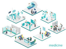 Isometric επίπεδο εσωτερικό του δωματίου νοσοκομείων, φαρμακείο, γραφείο γιατρών ` s, Στοκ Φωτογραφία