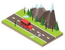 Isometric επαρχία Δρόμος άνοιξη Το αυτοκίνητο περνά από τους βράχους και τα δέντρα Στοκ Φωτογραφίες