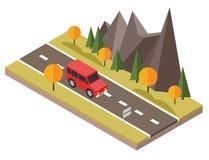 Isometric επαρχία Δρόμος πτώσης Το αυτοκίνητο περνά από τους βράχους και τα δέντρα Στοκ φωτογραφία με δικαίωμα ελεύθερης χρήσης