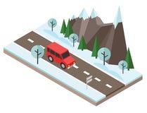 Isometric επαρχία η πόλη κοντά στο δρόμο σιδηροδρόμων λάμπει ήλιος χιονιού στο χειμερινό δάσος Το αυτοκίνητο περνά από τους βράχο Στοκ Φωτογραφία
