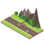Isometric επαρχία Θερινός δρόμος Ανακύκλωση γυναικών και ανδρών στο θερινή την ηλιόλουστη δρόμο ή εθνική οδό επαρχίας Στοκ εικόνες με δικαίωμα ελεύθερης χρήσης