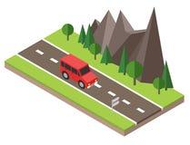 Isometric επαρχία Θερινός δρόμος Το αυτοκίνητο περνά από τους βράχους και τα δέντρα Στοκ Εικόνες
