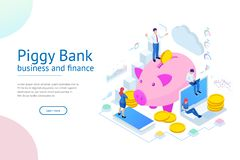 Isometric επιχειρηματίας που βάζει ένα νόμισμα σε μια piggy τράπεζα Εκτός από την έννοια χρημάτων Διαχειριστείτε τα χρήματα και χ διανυσματική απεικόνιση
