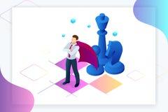 Isometric επιχειρηματίας που στέκεται στον πίνακα σκακιού Στρατηγική, διαχείριση, έννοια ηγεσίας Επιχειρησιακή στρατηγική ελεύθερη απεικόνιση δικαιώματος