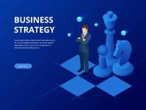 Isometric επιχειρηματίας που στέκεται στον πίνακα σκακιού Στρατηγική, διαχείριση, έννοια ηγεσίας Επιχειρησιακή στρατηγική απεικόνιση αποθεμάτων