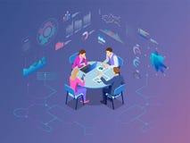 Isometric επιχειρηματίες που μιλούν την αίθουσα συνεδριάσεων των διασκέψεων Διαδικασία εργασίας ομάδας διανυσματική απεικόνιση