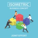 Isometric επιχειρηματίες που ωθούν και που συγκεντρώνουν το τορνευτικό πριόνι τέσσερα puz ελεύθερη απεικόνιση δικαιώματος