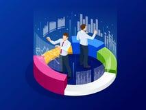 Isometric επιχειρησιακοί analytics, στρατηγική και προγραμματισμός Έννοια τεχνολογίας, Διαδικτύου και δικτύων Στοιχεία και επενδύ διανυσματική απεικόνιση
