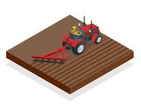 Isometric εργασίες τρακτέρ σε έναν τομέα Μηχανήματα γεωργίας Όργωμα στον τομέα Βαριά γεωργικά μηχανήματα για ελεύθερη απεικόνιση δικαιώματος
