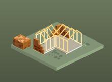 Isometric εργοτάξιο οικοδομής σπιτιών τούβλου Στοκ Φωτογραφία