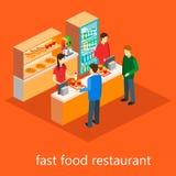 Isometric εστιατόριο γρήγορου φαγητού Στοκ φωτογραφία με δικαίωμα ελεύθερης χρήσης