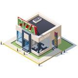 Isometric εστιατόριο πιτσών οικοδόμησης Στοκ Εικόνες