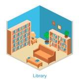 Isometric εσωτερική εγχώρια βιβλιοθήκη Στοκ φωτογραφία με δικαίωμα ελεύθερης χρήσης