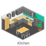 Isometric εσωτερική σύγχρονη κουζίνα Στοκ Φωτογραφίες