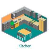 Isometric εσωτερική σύγχρονη κουζίνα Στοκ εικόνα με δικαίωμα ελεύθερης χρήσης