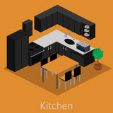 Isometric εσωτερική σύγχρονη κουζίνα Στοκ εικόνες με δικαίωμα ελεύθερης χρήσης