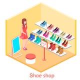 Isometric εσωτερικό κατάστημα παπουτσιών Στοκ φωτογραφία με δικαίωμα ελεύθερης χρήσης
