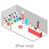 Isometric εσωτερικό κατάστημα παπουτσιών Στοκ Φωτογραφίες