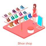 Isometric εσωτερικό κατάστημα παπουτσιών Στοκ εικόνα με δικαίωμα ελεύθερης χρήσης