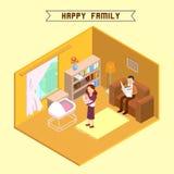 Isometric εσωτερικό με την ευτυχή οικογένεια Στοκ Φωτογραφίες