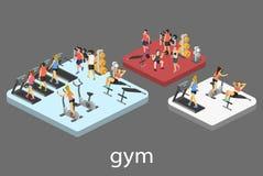 Isometric εσωτερικό της γυμναστικής Άνθρωποι που συμμετέχουν στον αθλητισμό Στοκ φωτογραφία με δικαίωμα ελεύθερης χρήσης