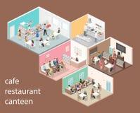 Isometric εσωτερικό της κουζίνας γλυκός-καταστημάτων, καφέδων, καντίνων και εστιατορίων διανυσματική απεικόνιση