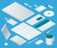 Isometric εταιρικό σύνολο προτύπων ταυτότητας Σχέδιο μαρκαρίσματος κενό πρότυπο Πρότυπο επιχειρησιακών χαρτικών Για γραφικό Στοκ Εικόνα
