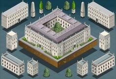 Isometric ευρωπαϊκό ιστορικό κτήριο Στοκ Φωτογραφίες