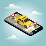 Isometric θέση Κινητή καταδίωξη geo χάρτης ταξί Στοκ φωτογραφία με δικαίωμα ελεύθερης χρήσης