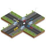 Isometric διανυσματική απεικόνιση σταυροδρομιών και οδικών σημαδιών Αυτοκίνητο μεταφορών, αστικός και άσφαλτος, κυκλοφορία Πέρασμ διανυσματική απεικόνιση