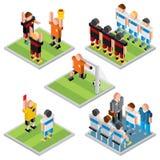 Isometric διανυσματικός αθλητισμός Καθορισμένα τρισδιάστατα εικονίδια ποδοσφαίρου σχεδίου Στοκ Φωτογραφία