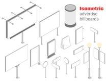 Isometric διαφημίστε τους πίνακες διαφημίσεων Στοκ εικόνα με δικαίωμα ελεύθερης χρήσης