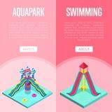 Isometric κάθετα ιπτάμενα Aquapark waterslides ελεύθερη απεικόνιση δικαιώματος