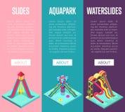 Isometric κάθετα ιπτάμενα Aquapark waterslides απεικόνιση αποθεμάτων
