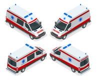 Isometric καθορισμένη απεικόνιση ασθενοφόρων μεταφορών van vector Ιατρικό ατύχημα εκκένωσης έκτακτης ανάγκης Ατύχημα Διανυσματική απεικόνιση