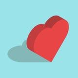 Isometric καρδιά στο μπλε Στοκ Φωτογραφία