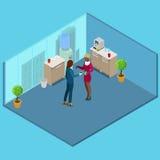 Isometric κουζίνα γραφείων πίνοντας άνθρωποι επιχειρησιακού καφέ διάνυσμα ελεύθερη απεικόνιση δικαιώματος