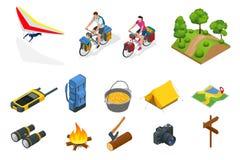 Isometric κρεμάστε το ανεμοπλάνο, ποδηλάτες στο ποδήλατο με την τσάντα ταξιδιού για το ταξίδι, εξοπλισμός στρατοπέδευσης στο άσπρ απεικόνιση αποθεμάτων