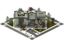 Isometric κτήρια πόλεων, διαμερίσματα πολυτέλειας τρισδιάστατη απόδοση Στοκ εικόνα με δικαίωμα ελεύθερης χρήσης