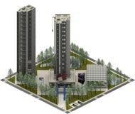 Isometric κτήρια πόλεων, σύγχρονη αρχιτεκτονική τρισδιάστατη απόδοση Στοκ Εικόνες