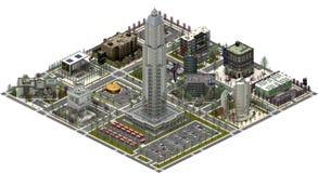 Isometric κτήρια πόλεων, σύγχρονη εικονική παράσταση πόλης τρισδιάστατη απόδοση Στοκ Εικόνες