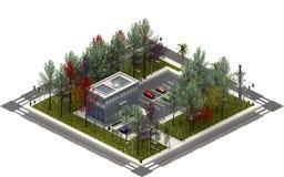 Isometric κτήρια πόλεων, σύγχρονο κτήριο τρισδιάστατη απόδοση Στοκ εικόνα με δικαίωμα ελεύθερης χρήσης