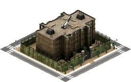 Isometric κτήρια πόλεων, φυλακή φυλακών τρισδιάστατη απόδοση Στοκ Εικόνες