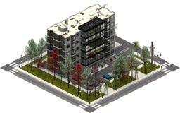 Isometric κτήρια πόλεων, χώρος στάθμευσης με την επιχείρηση γραφείων τρισδιάστατη απόδοση Στοκ Εικόνα