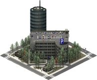 Isometric κτήρια πόλεων, χώρος στάθμευσης με τον ουρανοξύστη τρισδιάστατη απόδοση Στοκ φωτογραφία με δικαίωμα ελεύθερης χρήσης